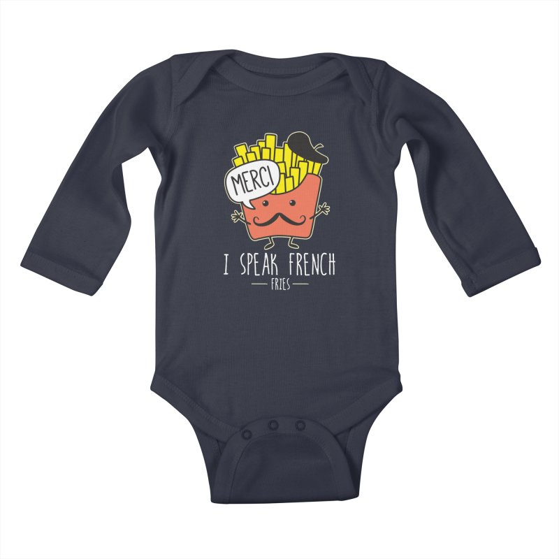 I Speak French Fries Kids Baby Longsleeve Bodysuit by Detour Shirt's Artist Shop