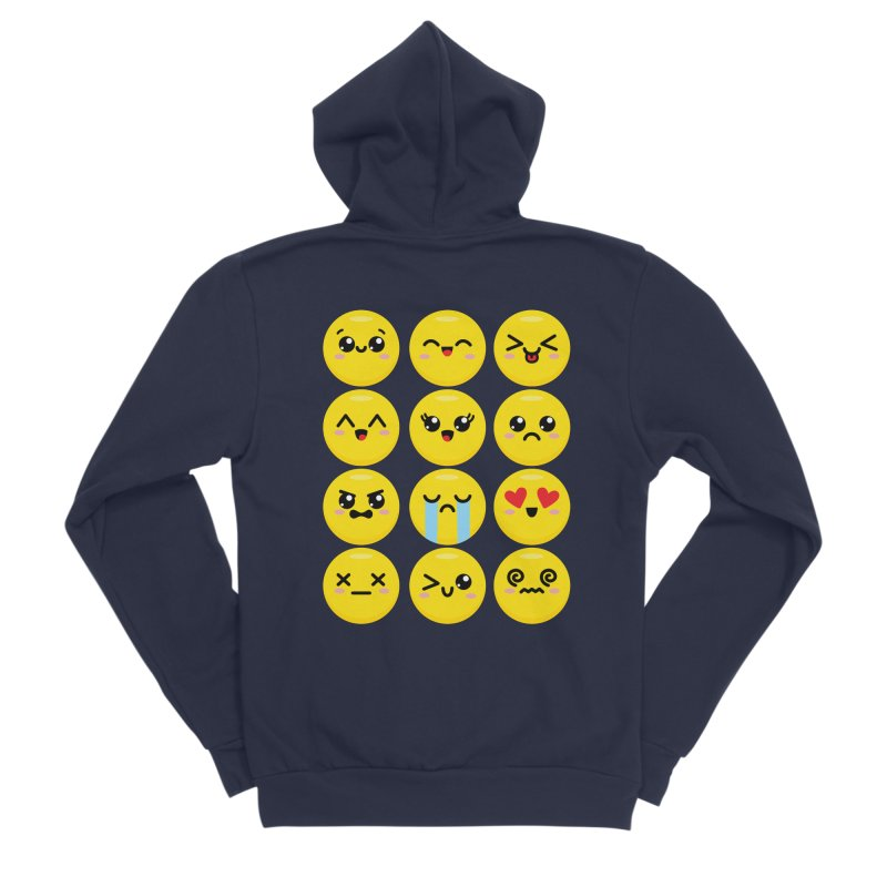 Kawaii Emojis Men's Sponge Fleece Zip-Up Hoody by Detour Shirt's Artist Shop