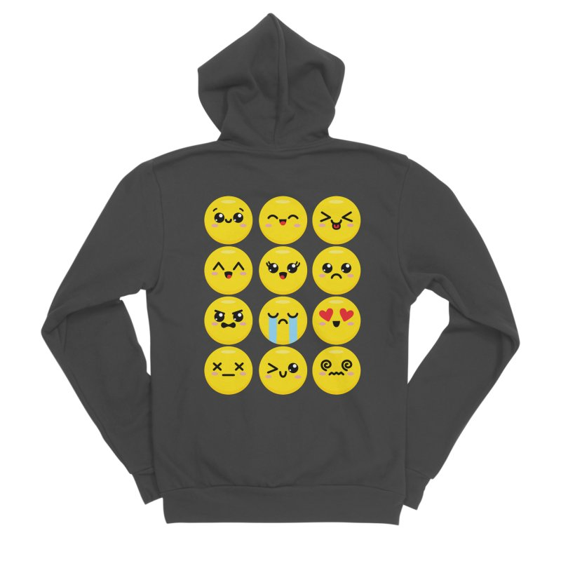 Kawaii Emojis Men's Sponge Fleece Zip-Up Hoody by Detour Shirt's Artist Shop