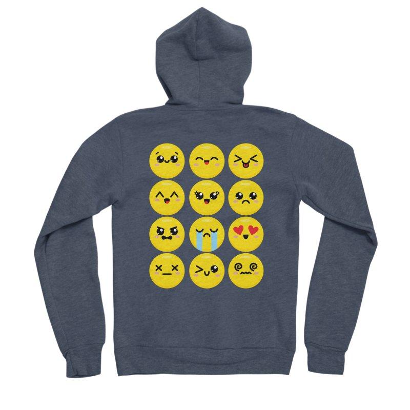 Kawaii Emojis Women's Sponge Fleece Zip-Up Hoody by Detour Shirt's Artist Shop