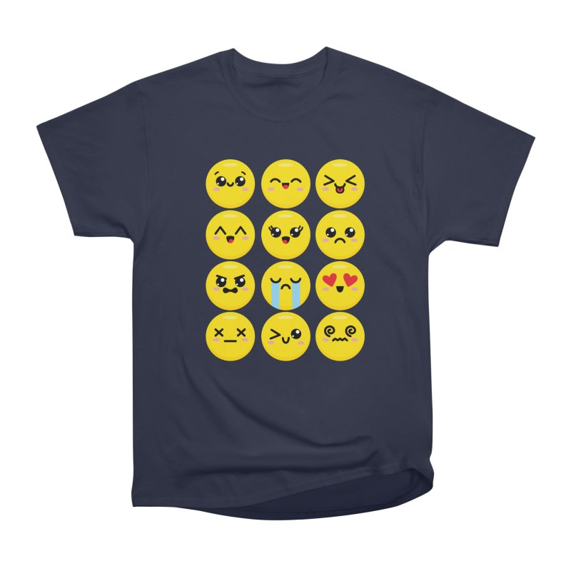 Kawaii Emojis Women's Heavyweight Unisex T-Shirt by Detour Shirt's Artist Shop