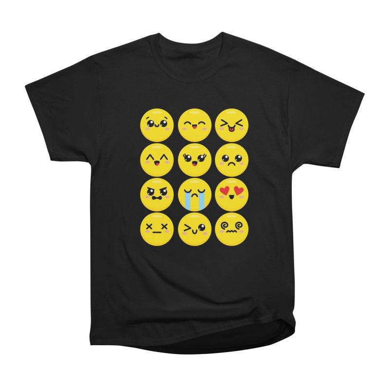 Kawaii Emojis Women's Heavyweight Unisex T-Shirt by Detour Shirt's Artist Shop