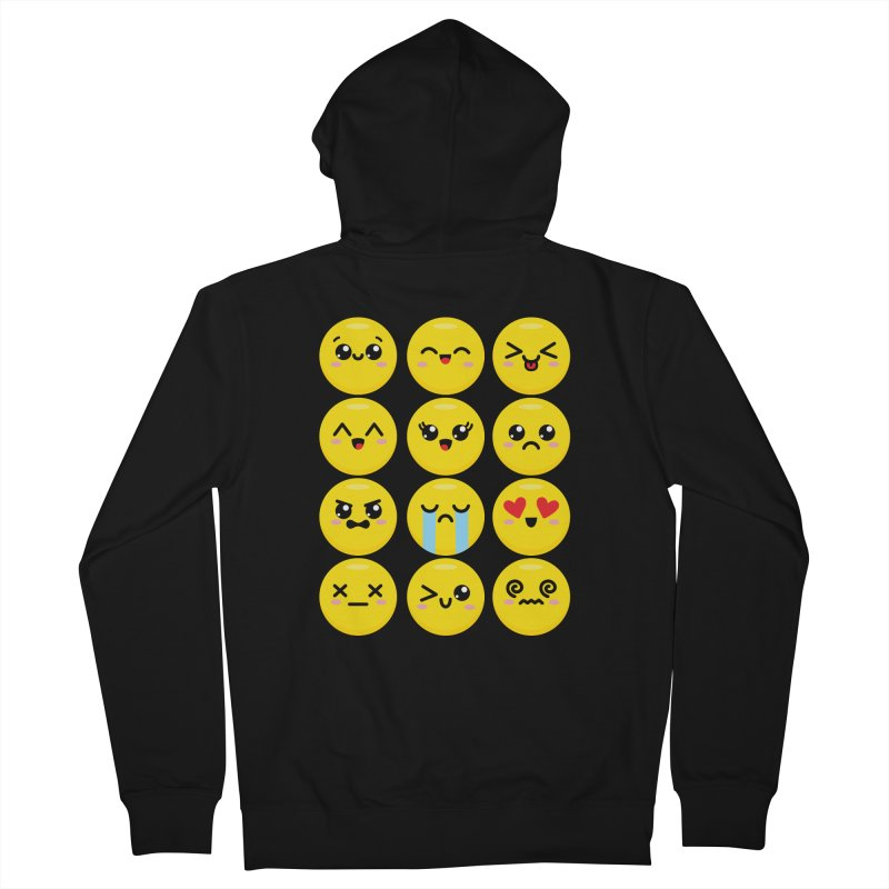 Kawaii Emojis Men's French Terry Zip-Up Hoody by Detour Shirt's Artist Shop