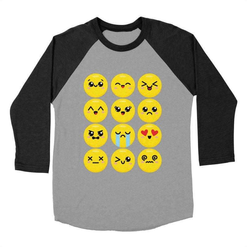 Kawaii Emojis Women's Baseball Triblend Longsleeve T-Shirt by Detour Shirt's Artist Shop