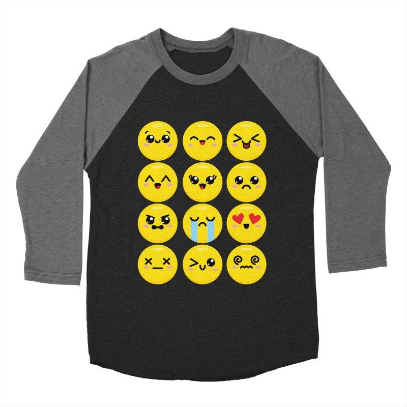 Kawaii Emojis Men's Baseball Triblend Longsleeve T-Shirt by Detour Shirt's Artist Shop