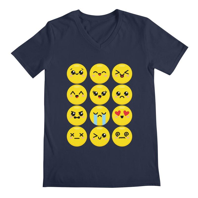 Kawaii Emojis Men's Regular V-Neck by Detour Shirt's Artist Shop