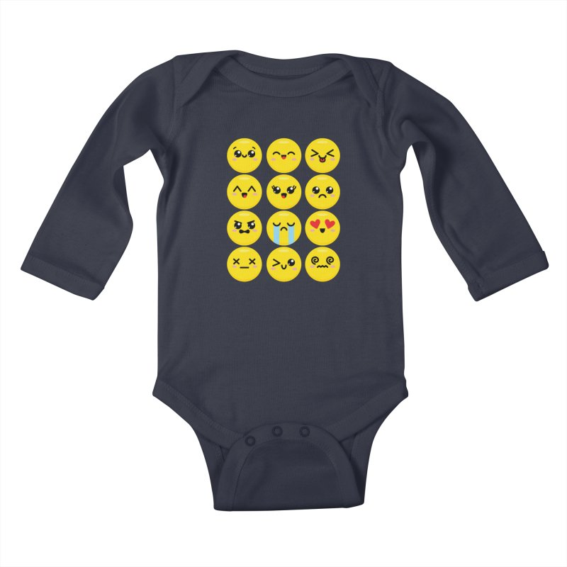 Kawaii Emojis Kids Baby Longsleeve Bodysuit by Detour Shirt's Artist Shop