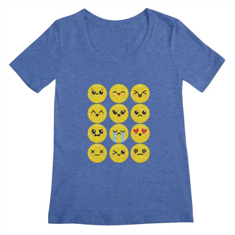 Kawaii Emojis Women's Regular Scoop Neck by Detour Shirt's Artist Shop