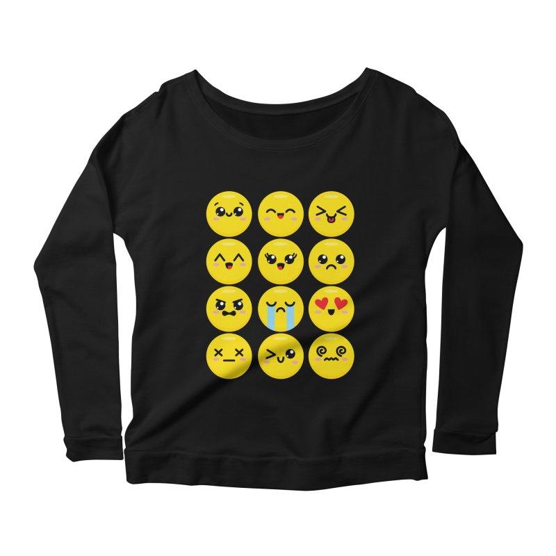 Kawaii Emojis Women's Scoop Neck Longsleeve T-Shirt by Detour Shirt's Artist Shop