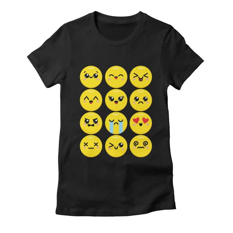 Kawaii Emojis Women's Fitted T-Shirt by Detour Shirt's Artist Shop