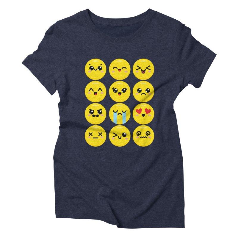 Kawaii Emojis Women's Triblend T-Shirt by Detour Shirt's Artist Shop