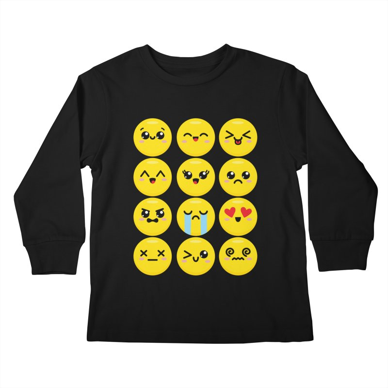 Kawaii Emojis Kids Longsleeve T-Shirt by Detour Shirt's Artist Shop