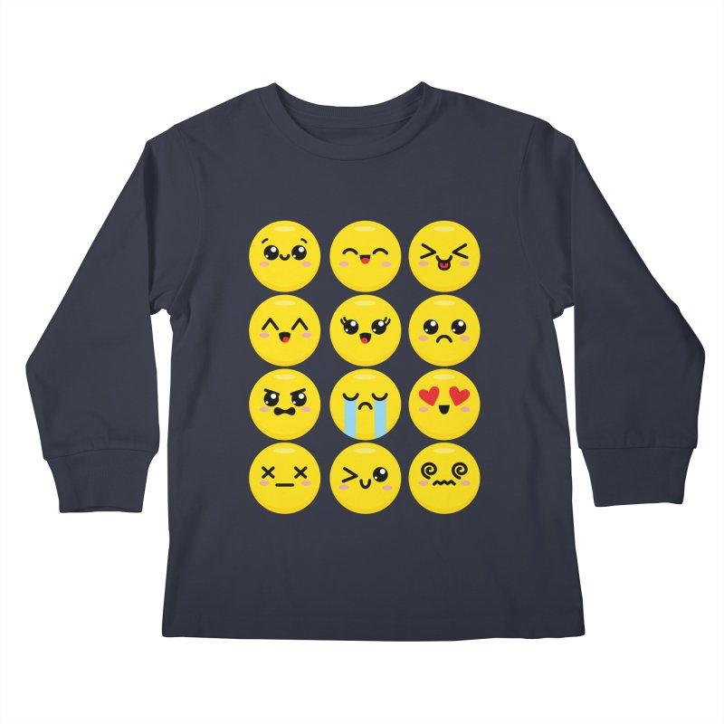 Kawaii Emojis Kids Longsleeve T-Shirt by Detour Shirt's Artist Shop