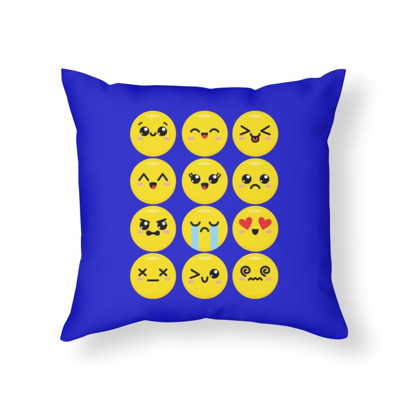 Kawaii Emojis Home Throw Pillow by Detour Shirt's Artist Shop
