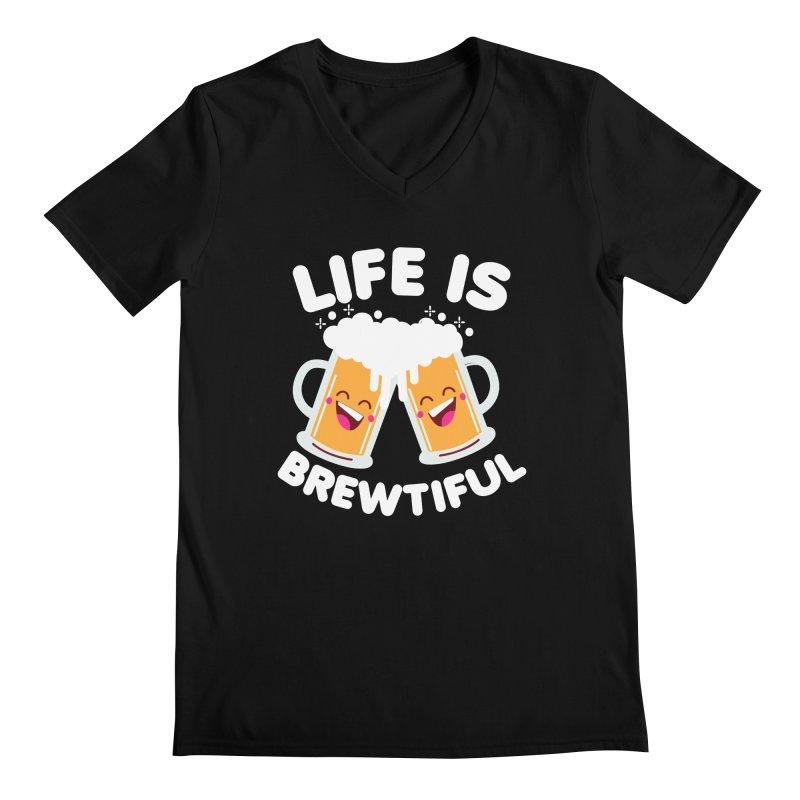 Life Is Brewtiful Men's Regular V-Neck by Detour Shirt's Artist Shop