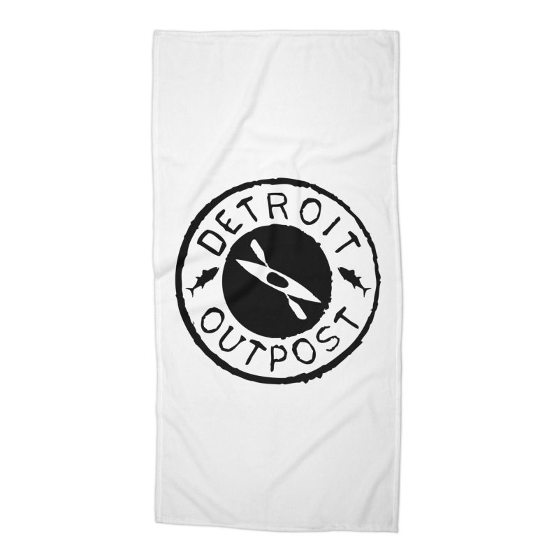 Black Outpost Logo Accessories Beach Towel by Outpost Apparel