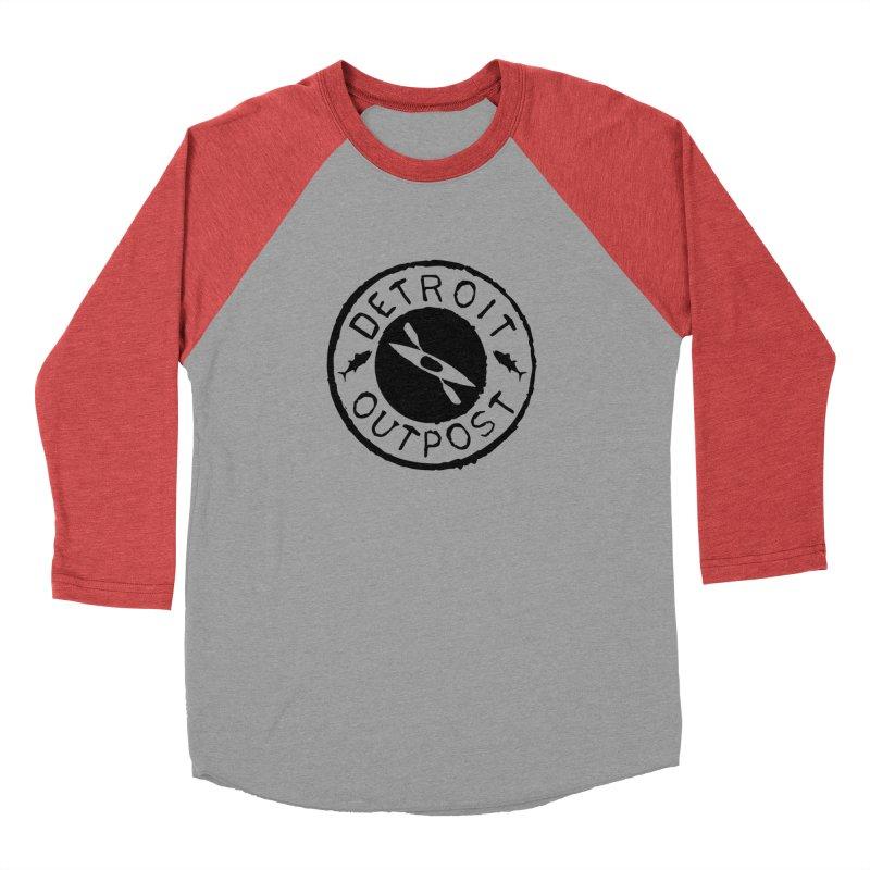 Black Outpost Logo Women's Baseball Triblend Longsleeve T-Shirt by Outpost Apparel