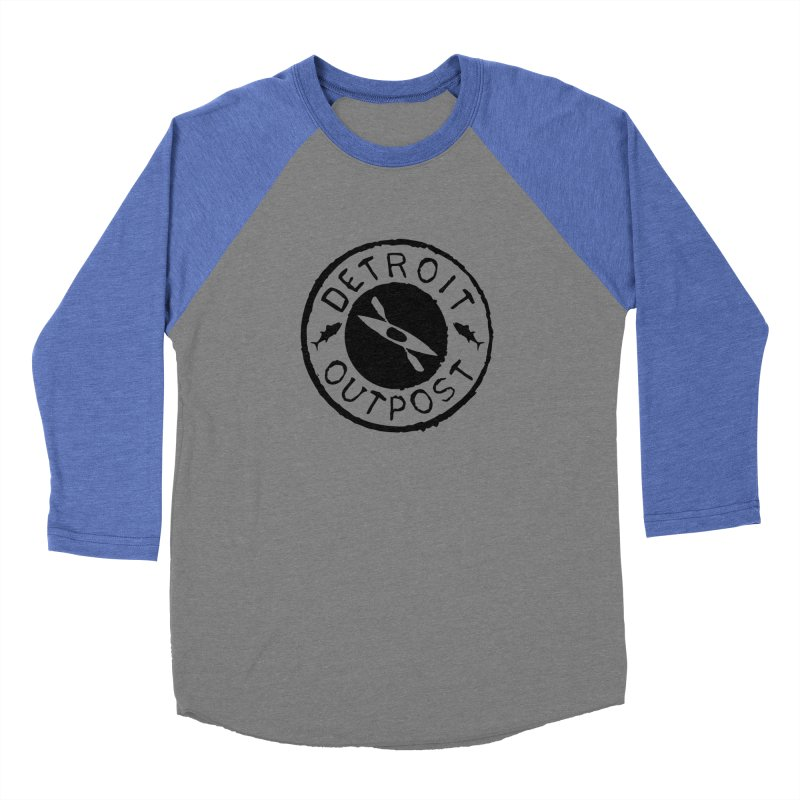 Black Outpost Logo Men's Baseball Triblend Longsleeve T-Shirt by Outpost Apparel