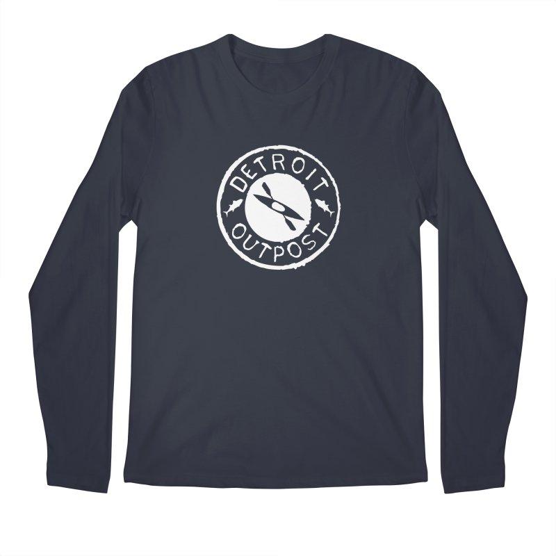White Outpost Logo Men's Regular Longsleeve T-Shirt by Outpost Apparel