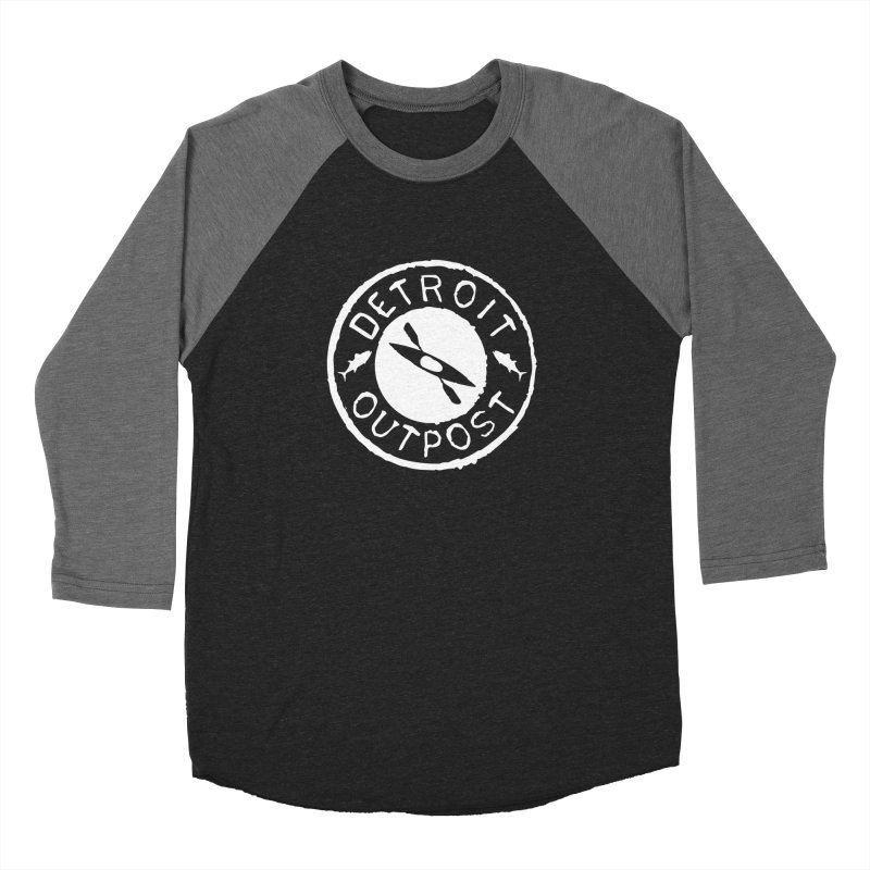 White Outpost Logo Men's Baseball Triblend Longsleeve T-Shirt by Outpost Apparel