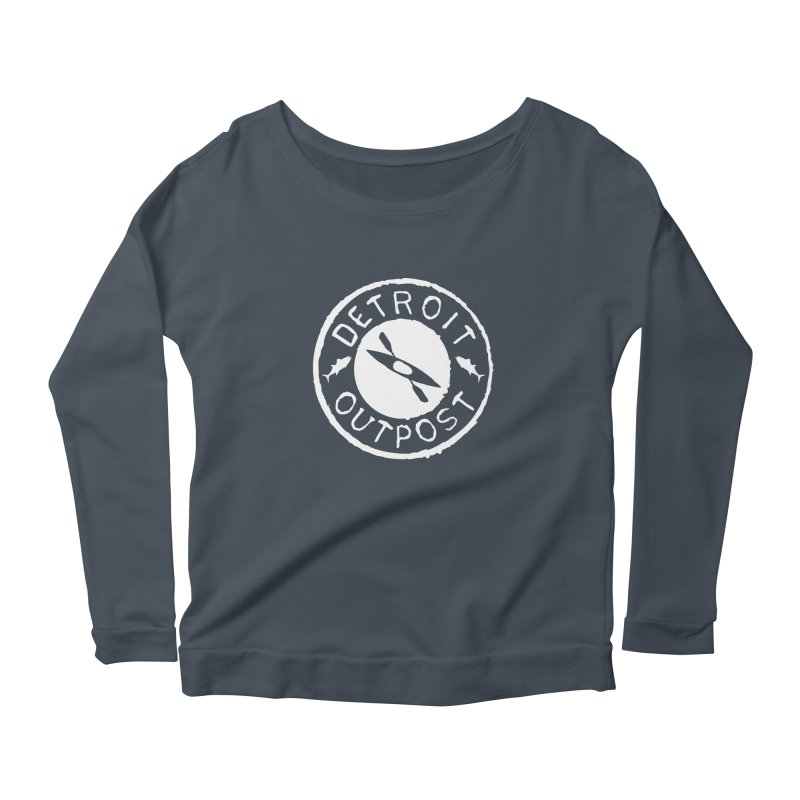 White Outpost Logo Women's Scoop Neck Longsleeve T-Shirt by Outpost Apparel