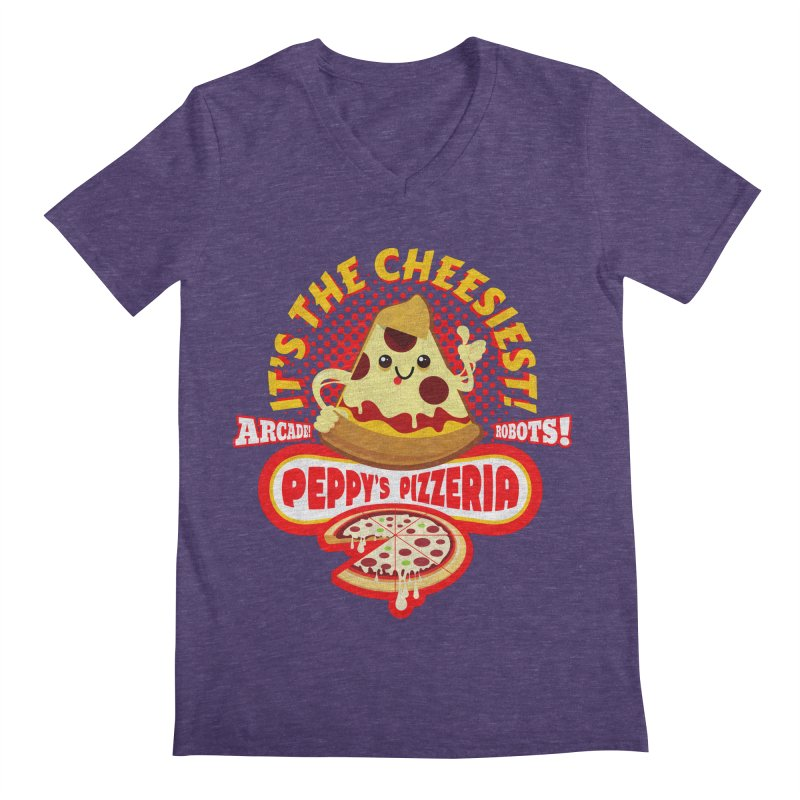 Peppy's Pizzeria Men's V-Neck by devildino's Artist Shop