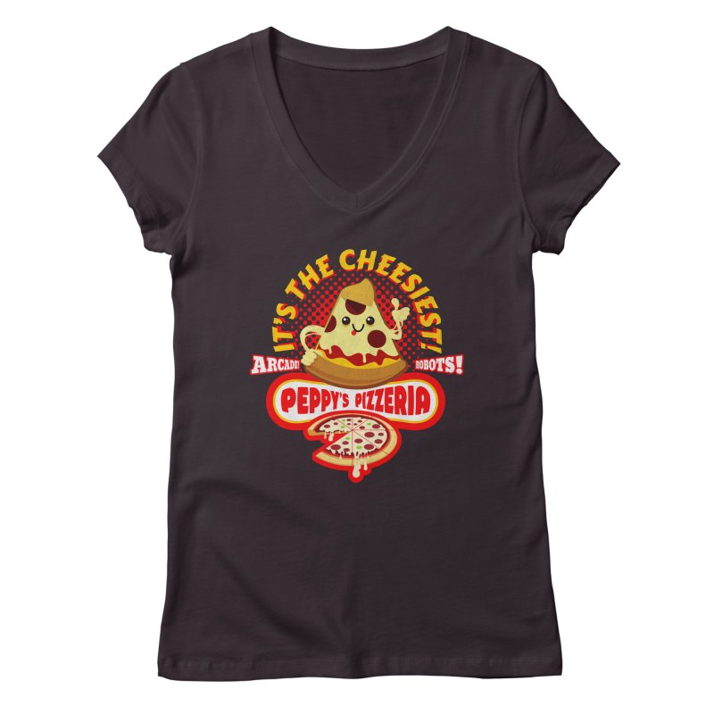 Peppy's Pizzeria Women's V-Neck by devildino's Artist Shop