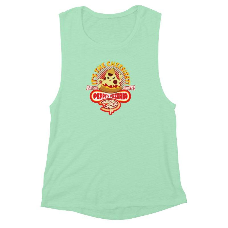 Peppy's Pizzeria Women's Muscle Tank by devildino's Artist Shop