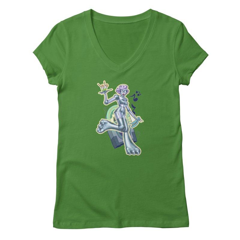 Robot Girlie by Nei Ruffino Women's V-Neck by Devil's Due Comics