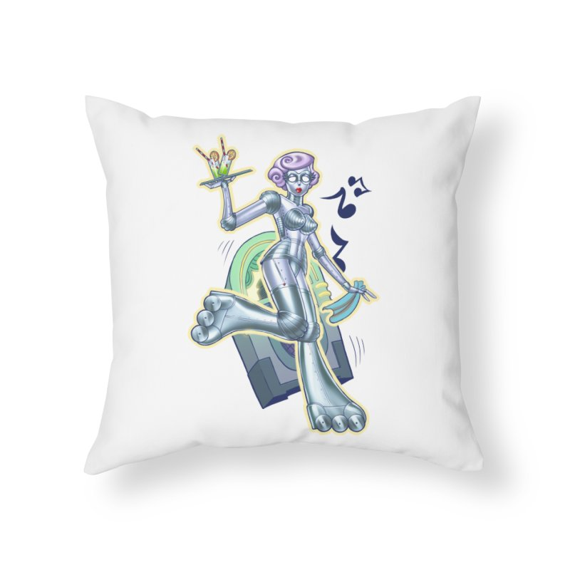 Robot Girlie by Nei Ruffino Home Throw Pillow by Devil's Due Entertainment Depot