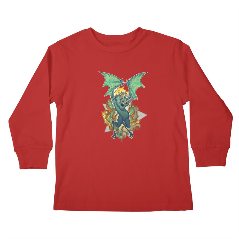 The Bat Man by Nei Ruffino Kids Longsleeve T-Shirt by Devil's Due Entertainment Depot