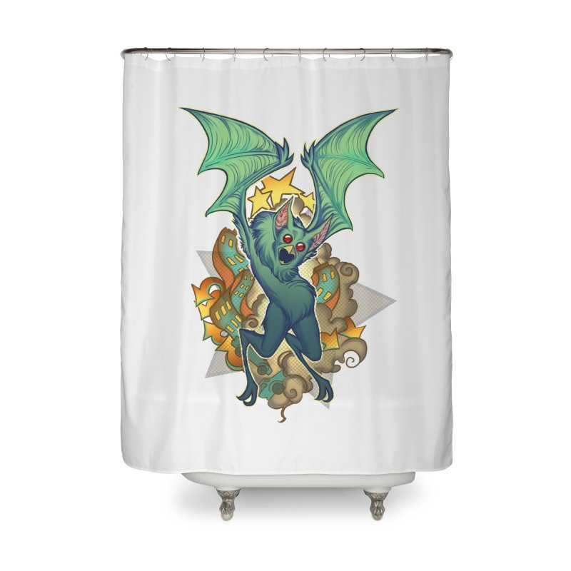 The Bat Man by Nei Ruffino Home Shower Curtain by Devil's Due Comics