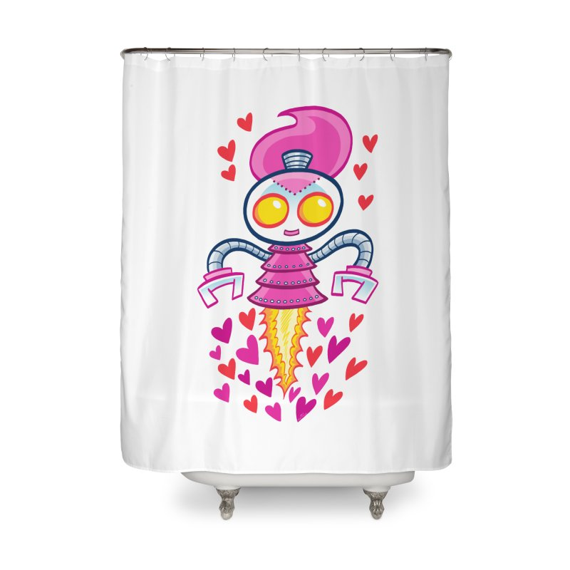 Robot Girlie by Art Baltazar Home Shower Curtain by Devil's Due Comics