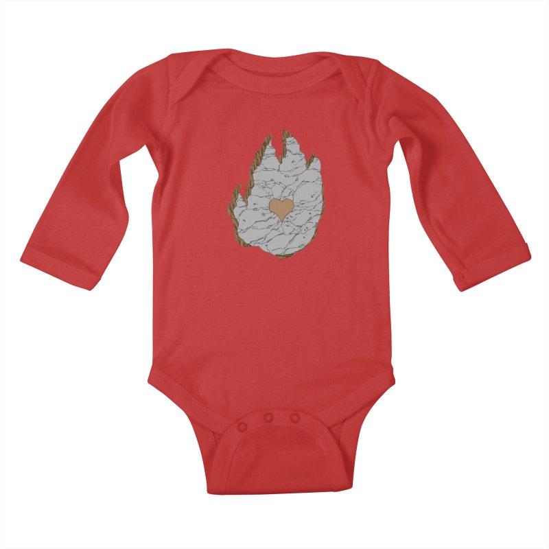 Footprint Heart by Phil Hester Kids Baby Longsleeve Bodysuit by Devil's Due Entertainment Depot