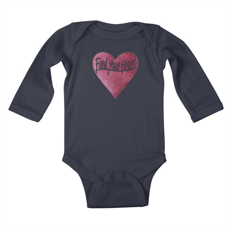 Find Your Heart Kids Baby Longsleeve Bodysuit by Demeter Designs Artist Shop