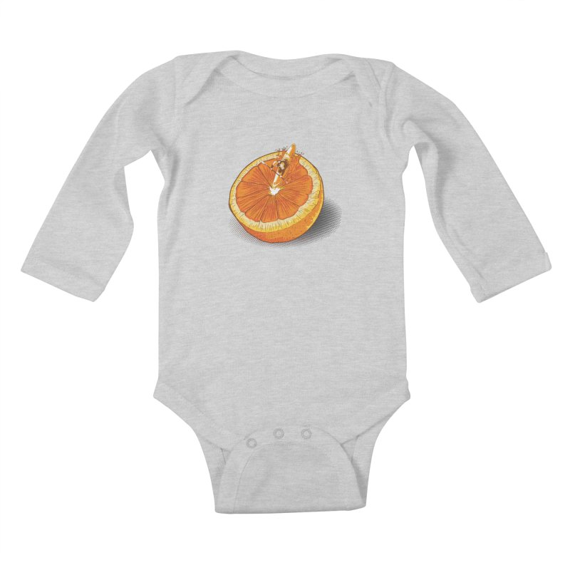 Rapid Orange Kids Baby Longsleeve Bodysuit by deyaz's Artist Shop