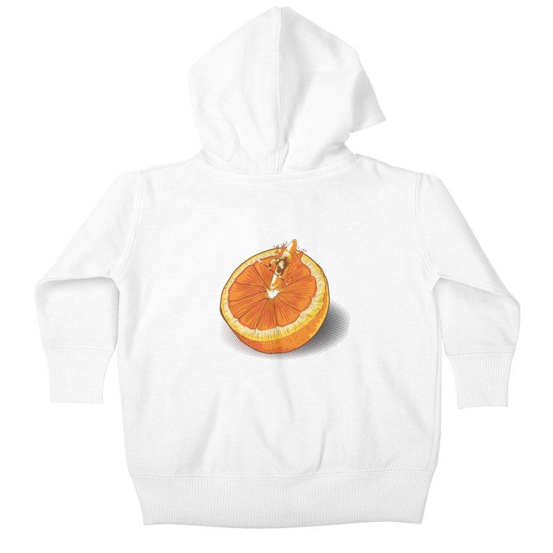 Rapid Orange Kids Baby Zip-Up Hoody by deyaz's Artist Shop