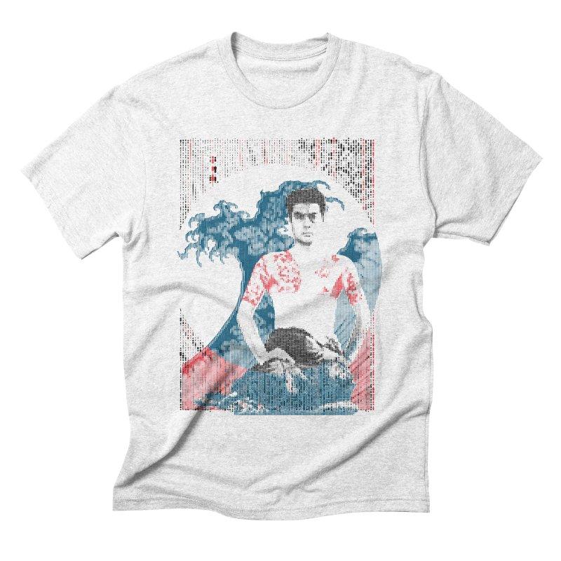 Samurai/Great Wave in Men's Triblend T-shirt Heather White by dgeph's artist shop