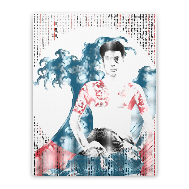 Samurai/Great Wave Home Stretched Canvas by dgeph's artist shop