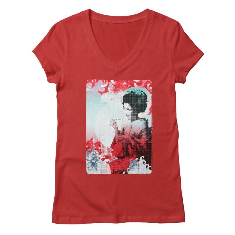 Geisha 1 Women's V-Neck by dgeph's artist shop