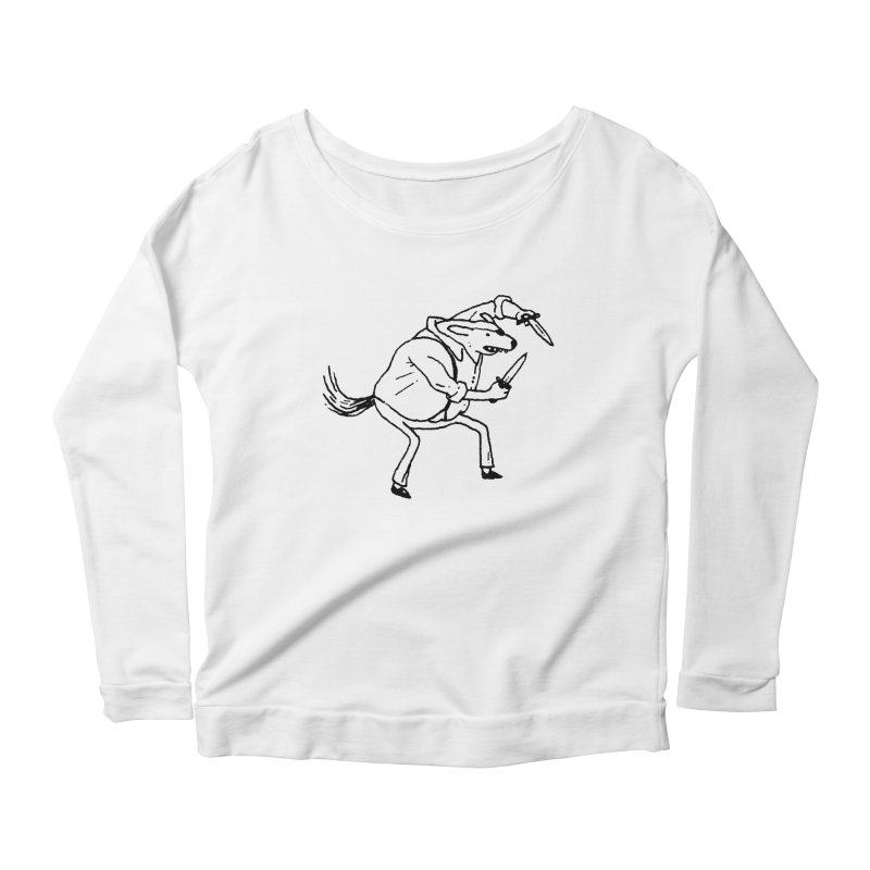 BEWARE OF DOG Women's Longsleeve Scoopneck  by Dustin Harbin's Sweet T's!