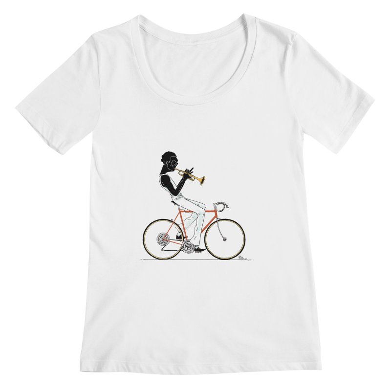 MILES BY BICYCLE Women's Regular Scoop Neck by Dustin Harbin's Sweet T's!
