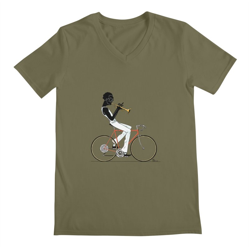 MILES BY BICYCLE Men's V-Neck by Dustin Harbin's Sweet T's!