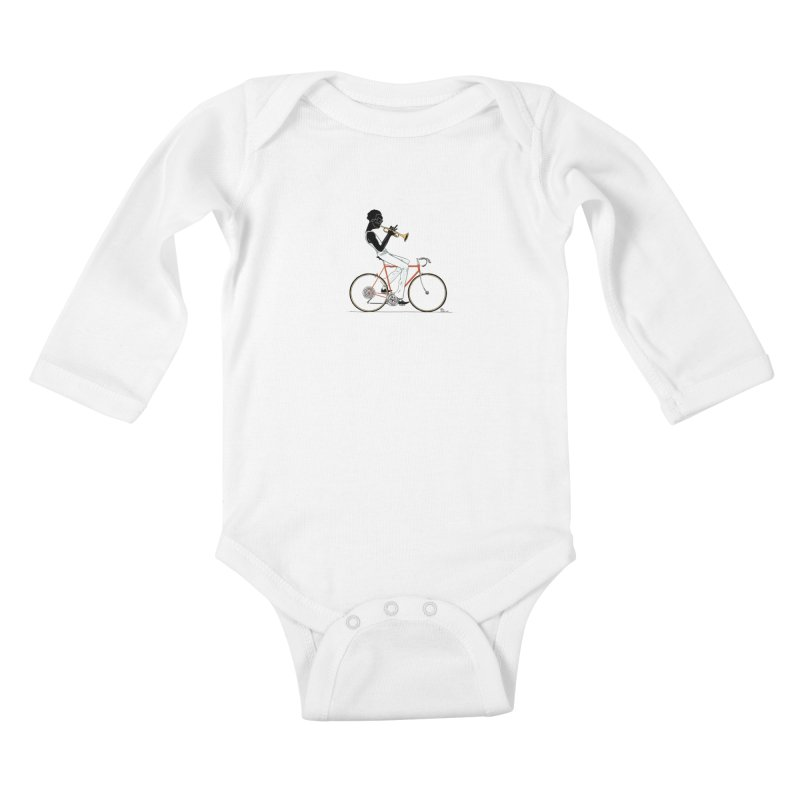 MILES BY BICYCLE Kids Baby Longsleeve Bodysuit by Dustin Harbin's Sweet T's!