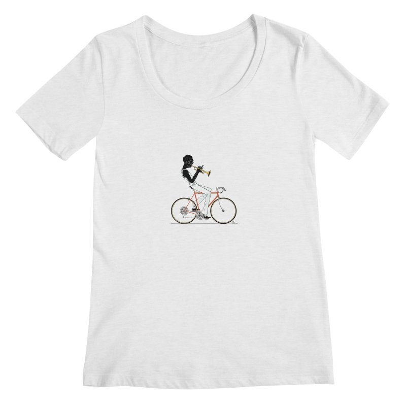 MILES BY BICYCLE Women's Scoopneck by Dustin Harbin's Sweet T's!