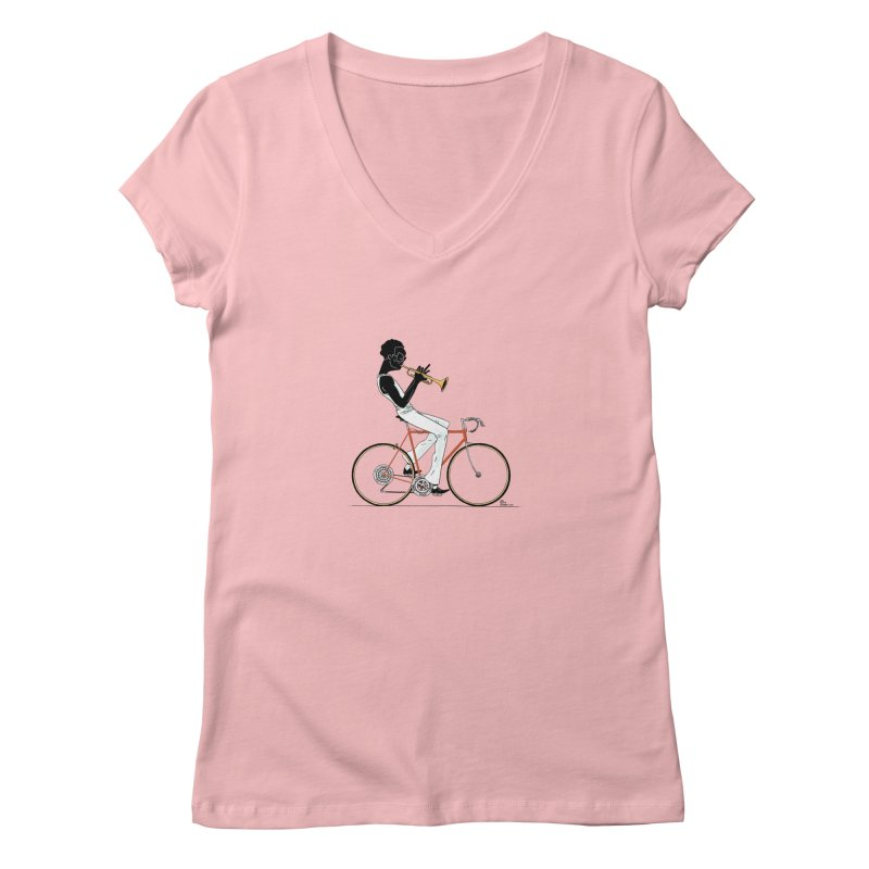 MILES BY BICYCLE Women's V-Neck by Dustin Harbin's Sweet T's!