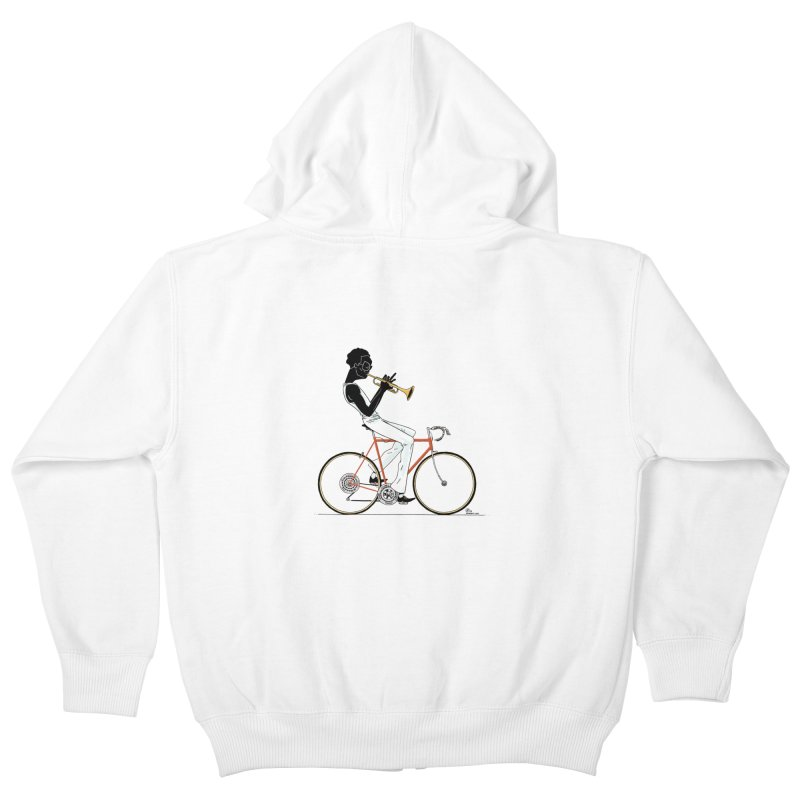 MILES BY BICYCLE Kids Zip-Up Hoody by Dustin Harbin's Sweet T's!