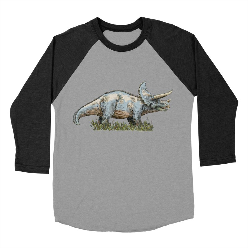 BEHOLD! THE TRICERATOPS! Women's Baseball Triblend Longsleeve T-Shirt by Dustin Harbin's Sweet T's!