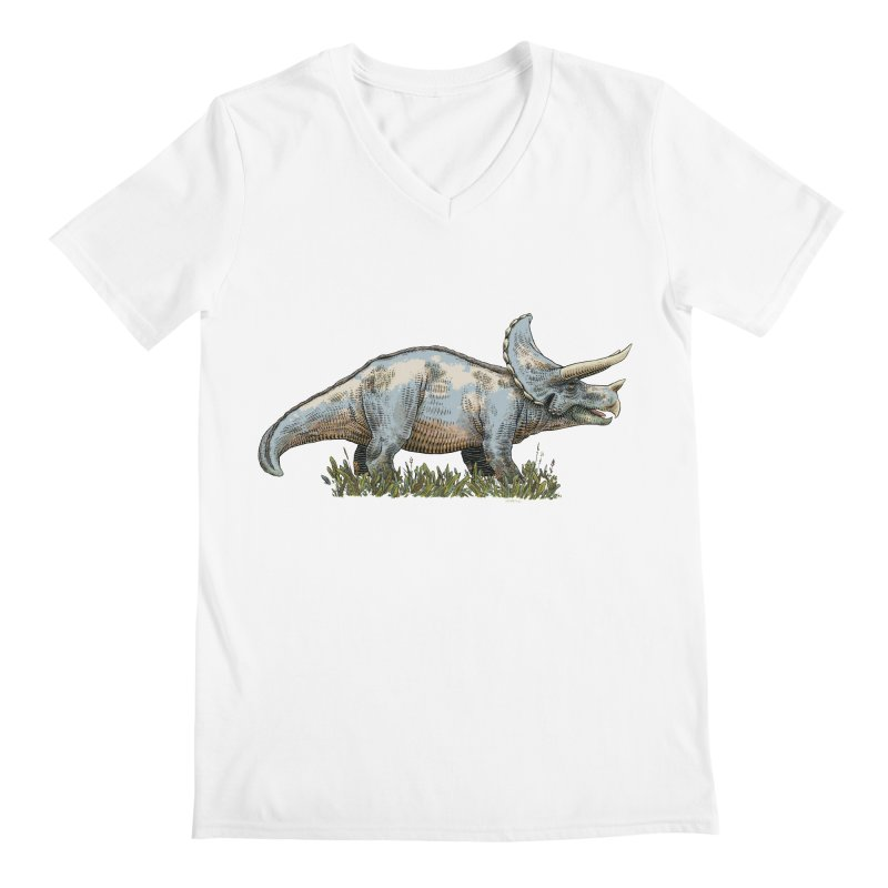 BEHOLD! THE TRICERATOPS! Men's Regular V-Neck by Dustin Harbin's Sweet T's!
