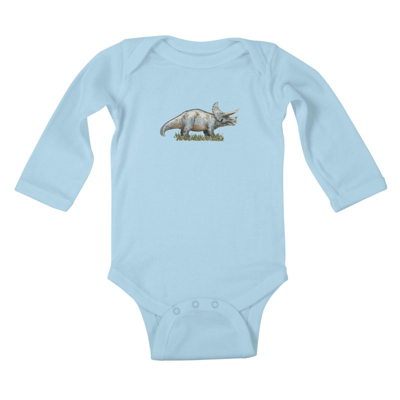 BEHOLD! THE TRICERATOPS! Kids Baby Longsleeve Bodysuit by Dustin Harbin's Sweet T's!